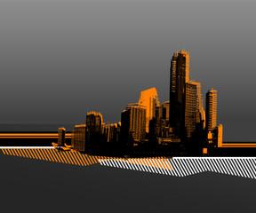 Black city with orange silhouette. Vector