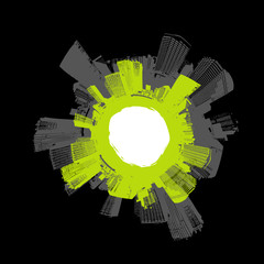City in circle with green. Vector art