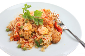 Paella with chicken and king prawns