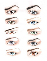 The hand drawing of differently colored and shaped eyes.