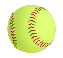 softball, yellow with red stitching, full picture