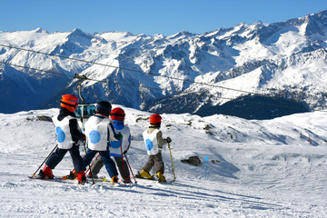 young boys skiing