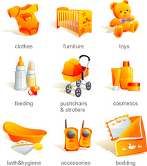 Icon set - baby  catalogue goods, items. Vector illustration
