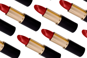 Red lipstick isolated over white with clipping path