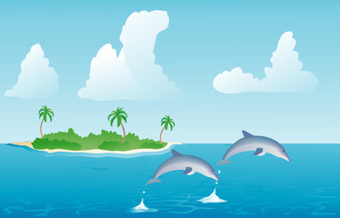 pair of dolphins jumping out of the water illustration