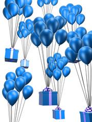 viele blaue luftballons mit geschenken