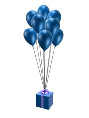 fliegende luftballons mit geschenk