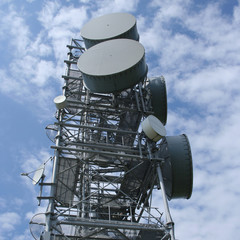 tower with microwave dishes