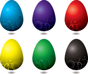 six illustrated easter eggs with a floral design
