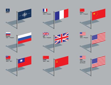 Flag Pins - NATO and UN Security Council