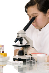 Girl with microscope.