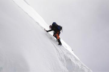 the summit of island peak, nepal.