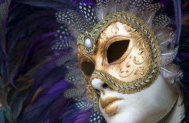 Wall Mural - golden venetian mask