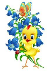 Cute chick with flowers