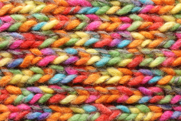 Colored wool in close up