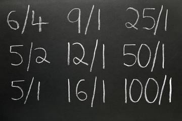 Obraz Betting odds written on a blackboard. - fototapety do salonu