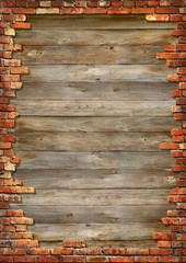Wooden boards background texture with brick wall framing