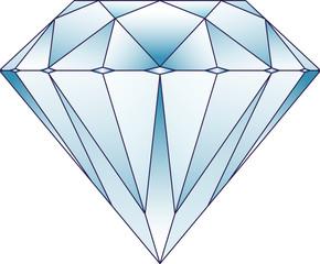 Blue tone diamond with gradients. Vector illustration.