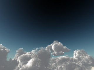 cumulus clouds soaring on the dark blue sky