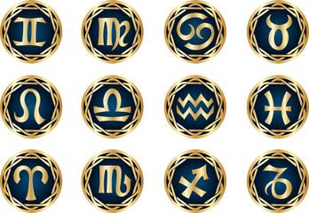 vector gold zodiac icon set