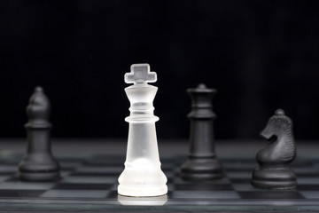 The white king comes under attack in a game of chess