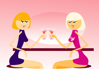 vector image of two girls in cafe