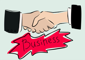 simple vector image of business handshake