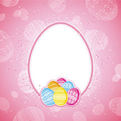 color easter eggs over pink  background