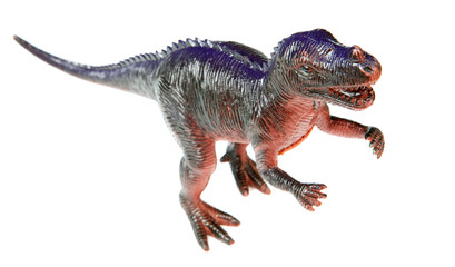 One dinosaur toy a over white background