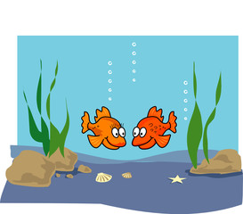 Printed roller blinds Submarine Goldfish cartoon illustration