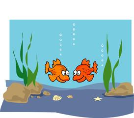 Poster Submarine Goldfish cartoon illustration