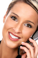 young business woman calling by cellular phone..