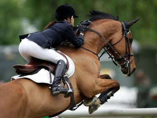 Foto op Plexiglas Paardrijden Springreiten