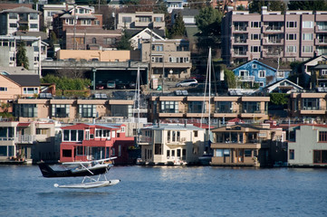 Floating plane taking off from Seattle's Lake Union