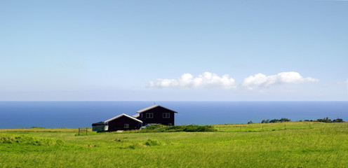 A farm standing by the ocean on Big Island, Hawaii