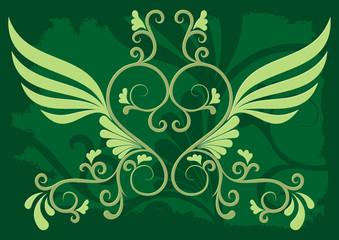 Decorative illustration on dark green background