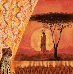 Collage african style on canvas,