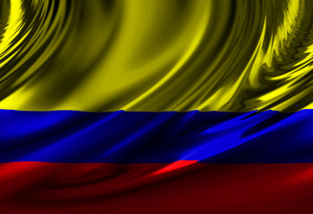 Colombian flag waving in the wind