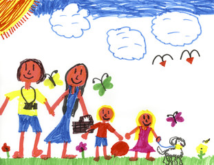 Happy Family in Happyland!  Kid Art by a genuine Kid!
