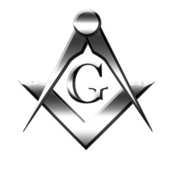 Silver freemason symbol on solid white background