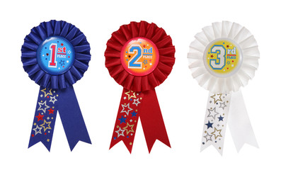 First, Second, and Third place award ribbons