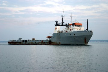 Ship coming into port.