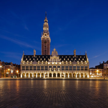 View at Ladeuzeplein in Leuven (Belgium) in twilight