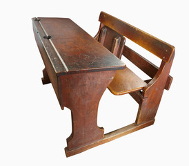 Vintage School desk isolated with clipping path