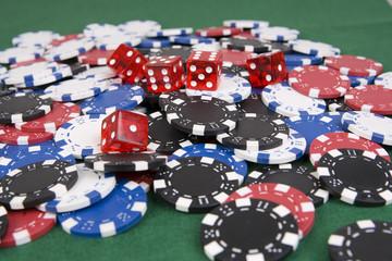 Casino Poker Chips mit WŸrfel