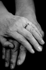 A shot of a mature couple holding hands
