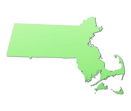 Massachusetts (USA) map filled with light green gradient