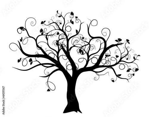 Vecteur s rie arbre vectoriel noir sur fond blanc - Dessin bourgeon ...
