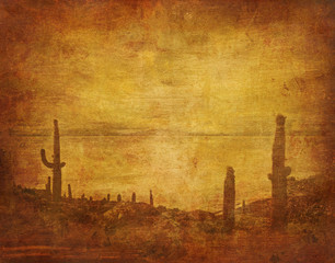 Wall Murals Honey grunge background with wild west landscape