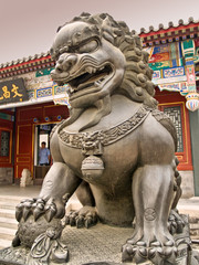 Lion statue inside the Summer Palace in Beijing, China